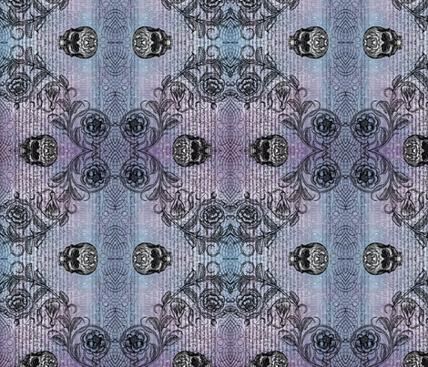 Diamond Skull Rose (Lavender-Blue) fabric by jenithea on Spoonflower - custom fabric