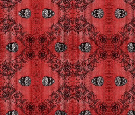 Diamond Skull Rose (Red) fabric by jenithea on Spoonflower - custom fabric