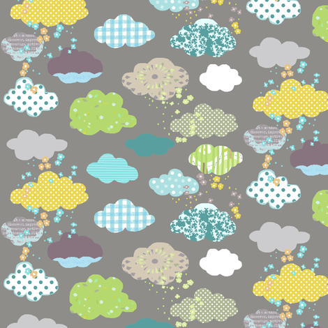 Clouds in grey fabric by katarina on Spoonflower - custom fabric