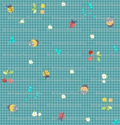 spring gingham blue