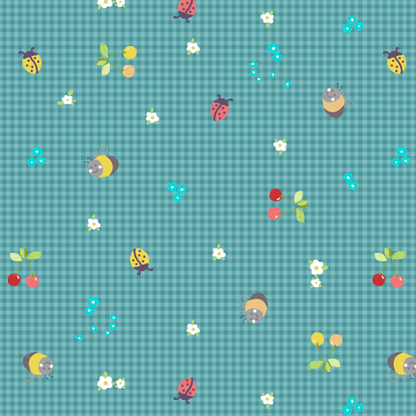 spring gingham blue fabric by katarina on Spoonflower - custom fabric