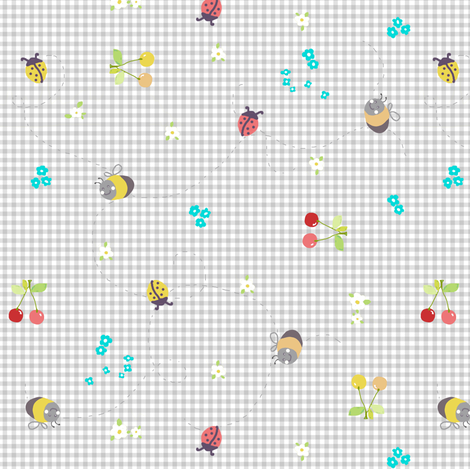 spring gingham grey fabric by katarina on Spoonflower - custom fabric