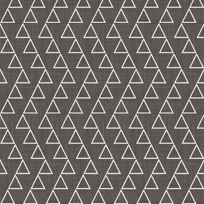 Dancing triangles-white on charcoal LINEN