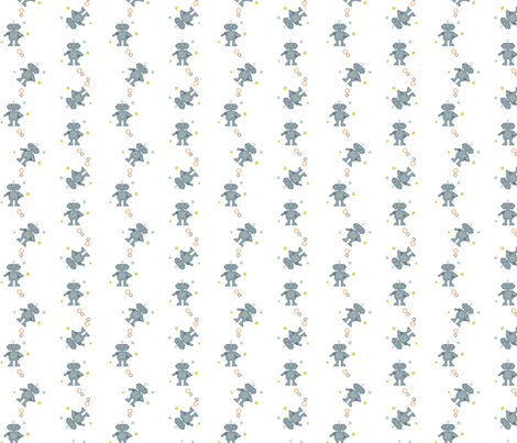 Grey-white_robot fabric by amanda_lincoln on Spoonflower - custom fabric