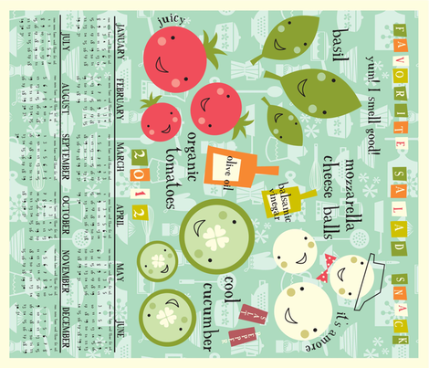 2012 calendar tea towel fabric by amel24 on Spoonflower - custom fabric