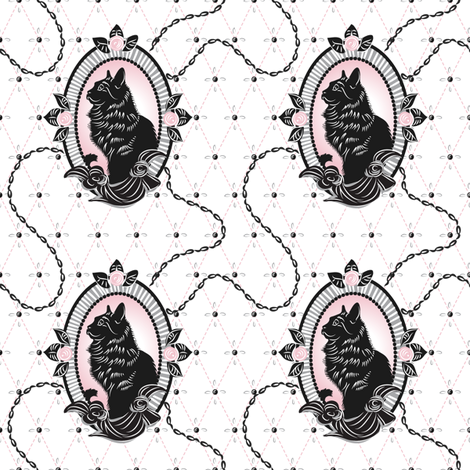 Catmeow Cameo - Pink fabric by dianne_annelli on Spoonflower - custom fabric