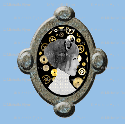 Cameo Girl with cogs - Blue (Please zoom for more detail)