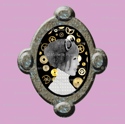 Cameo Girl with cogs - Pale Purple/ pink