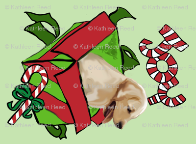 Yellow Lab cut and sew Christmas wall Hanging