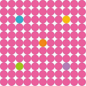 Pink Dots with yellow green orange blue and purple spots