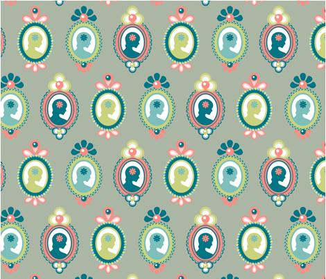 Flower lady cameo fabric by verogalbraith on Spoonflower - custom fabric