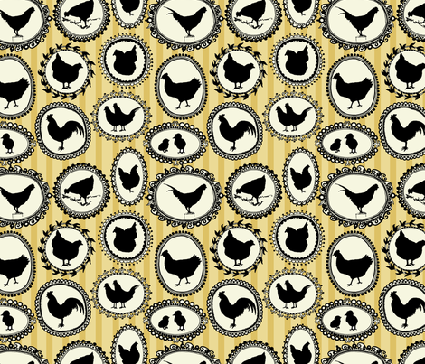 chicken cameos fabric by jeannemcgee on Spoonflower - custom fabric