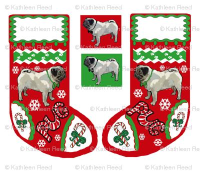 Cut and Sew Pug Dog Christmas stocking