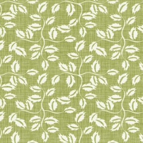 Faded French Rose Leaves - Green
