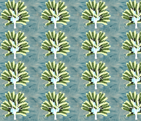 Family Hands Tree Blue fabric by upcyclepatch on Spoonflower - custom fabric