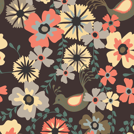 Floral and Bird fabric by kezia on Spoonflower - custom fabric