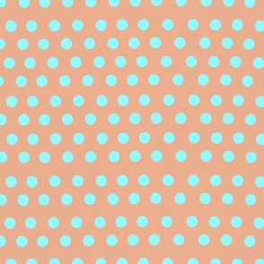 salmon and blue polka dots