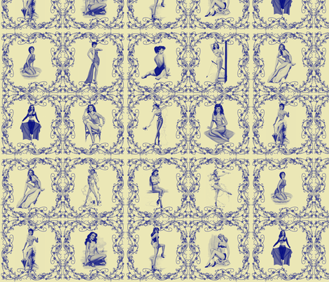 China pinup tiles fabric by glanoramay on Spoonflower - custom fabric