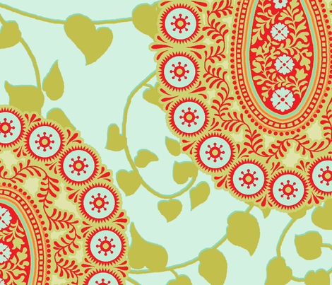 peaceful paisley large repeat fabric by littlerhodydesign on Spoonflower - custom fabric