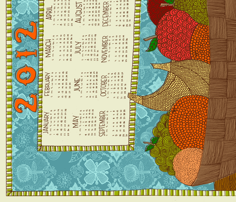 2012 Fruit Basket Calendar fabric by erinina on Spoonflower - custom fabric