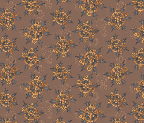 Steampunk Snowflakes fabric by urban_threads on Spoonflower - custom fabric
