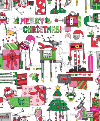 Robot Christmas fabric - urban_threads - Spoonflower