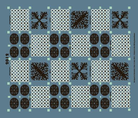welsh blanket_2012 tea towel calendar deep_sea fabric by bee&lotus on Spoonflower - custom fabric
