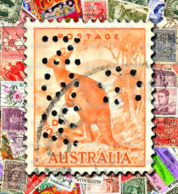 Stamps - Australian with kangaroo