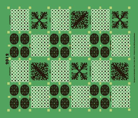 welsh blanket_2012 tea towel calendar_kelp fabric by bee&lotus on Spoonflower - custom fabric