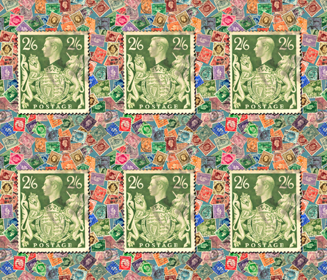 Stamp- Great Britain with George6 stamprge6 fabric by koalalady on Spoonflower - custom fabric