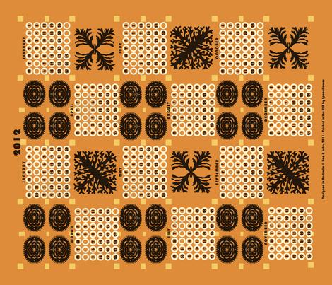 welsh blanket_2012 tea towel calendar_rock crab fabric by bee&lotus on Spoonflower - custom fabric