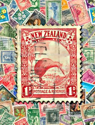 Stamps - New Zealand with Kiwi