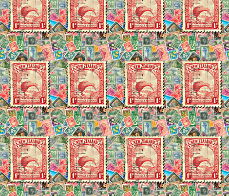 Stamps - New Zealand with Kiwi fabric by koalalady on Spoonflower - custom fabric