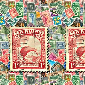 Stamps - New Zealand with Kiwi