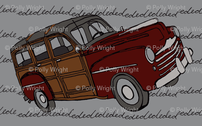 Red woodie on gray