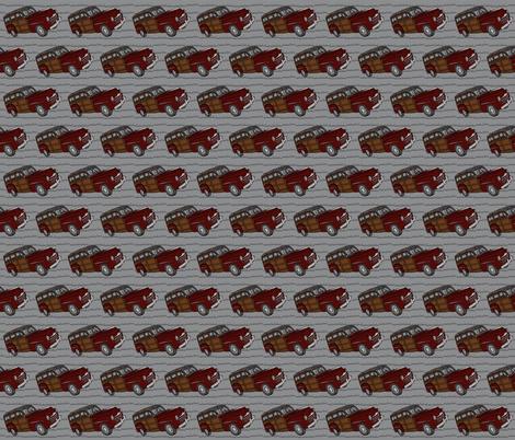 Red woodie on gray fabric by luluhoo on Spoonflower - custom fabric