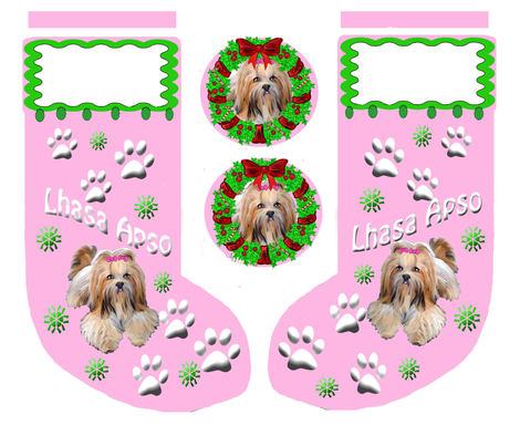 Lhasa_Apso_Christmas_Stocking fabric by dogdaze_ on Spoonflower - custom fabric