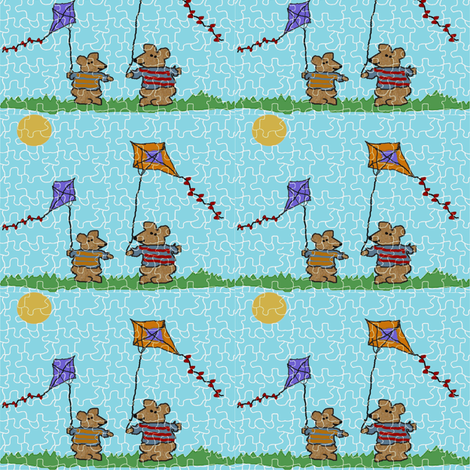 Go Fly a Kite Puzzle -blue fabric by silverdragonbabe on Spoonflower - custom fabric