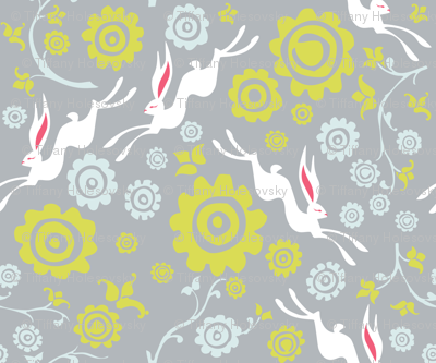 New Year Hare - Grey