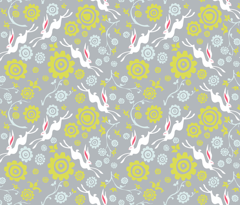 New Year Hare - Grey fabric by oddlyolive on Spoonflower - custom fabric