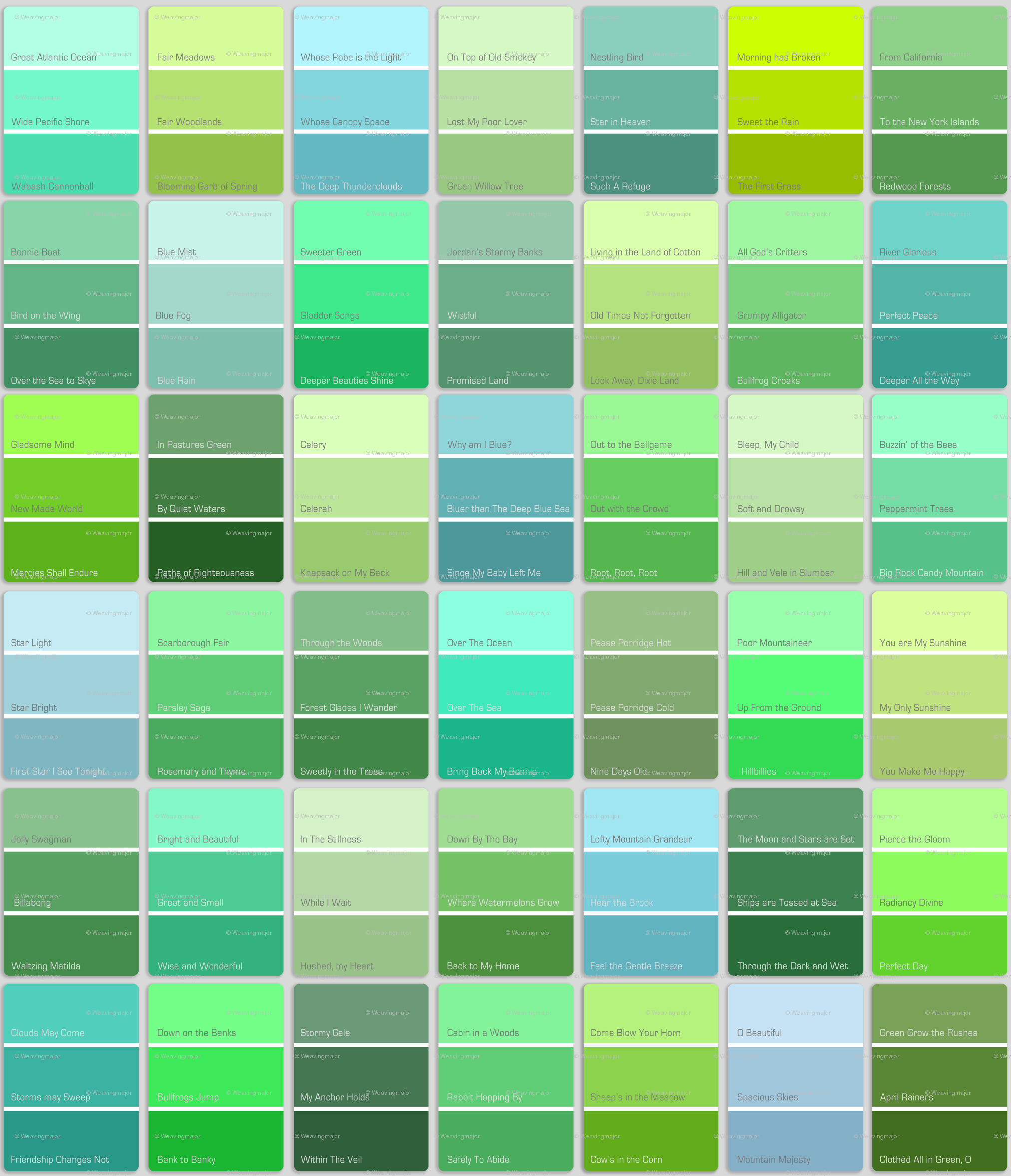 Green paint chart latest spectrafame color guide with for Colors shades of green