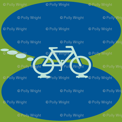 biking on cars in blue and green