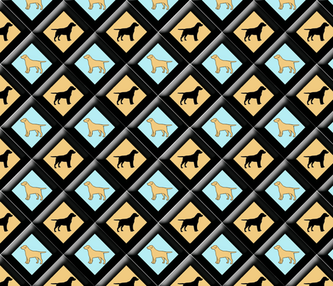 black_and_yellow_lab_diamond_pattern_24_x_24 fabric by dogdaze_ on Spoonflower - custom fabric