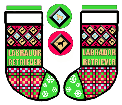 Patchwork Style Cut and Sew Labrador Christmas Stocking fabric by dogdaze_ on Spoonflower - custom fabric