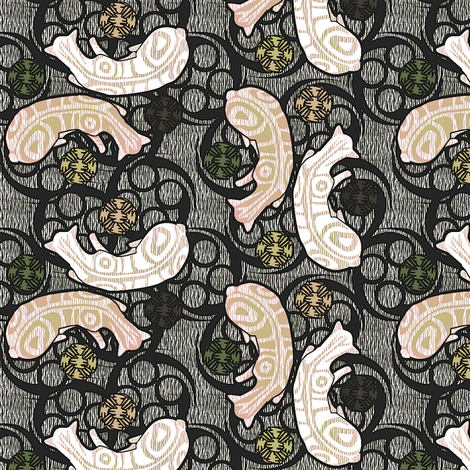sleeping maori kitties 2 fabric by glimmericks on Spoonflower - custom fabric