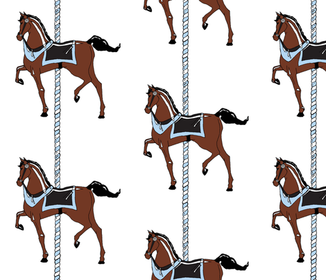 Blue Boy's Carousel Pony fabric by pond_ripple on Spoonflower - custom fabric