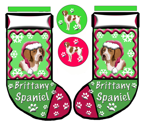 BRITTANY_SPANIEL_CHRISTMAS_STOCKING fabric by dogdaze_ on Spoonflower - custom fabric