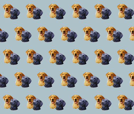 Yellow and black Labrador Retriever heads fabric by dogdaze_ on Spoonflower - custom fabric