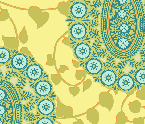 peaceful paisley aqua 18 inch repeat fabric by littlerhodydesign on Spoonflower - custom fabric