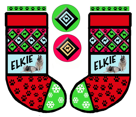 Cut and Sew Norwegian Elkhound Christmas Stocking fabric by dogdaze_ on Spoonflower - custom fabric